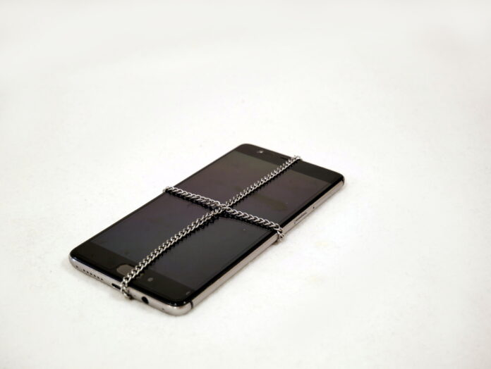 locked smartphone with chain